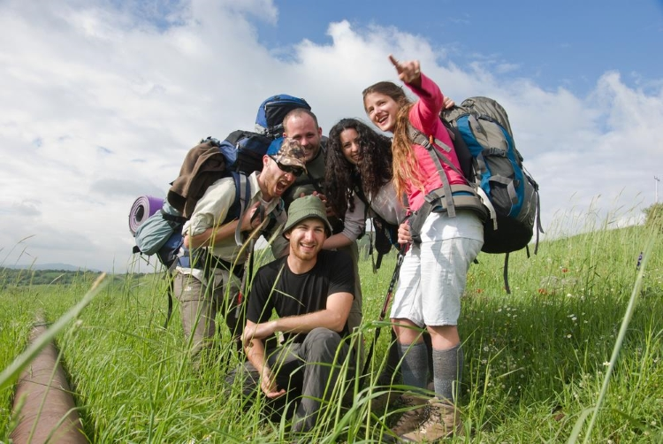 backpacking, hiking, camping, group photo