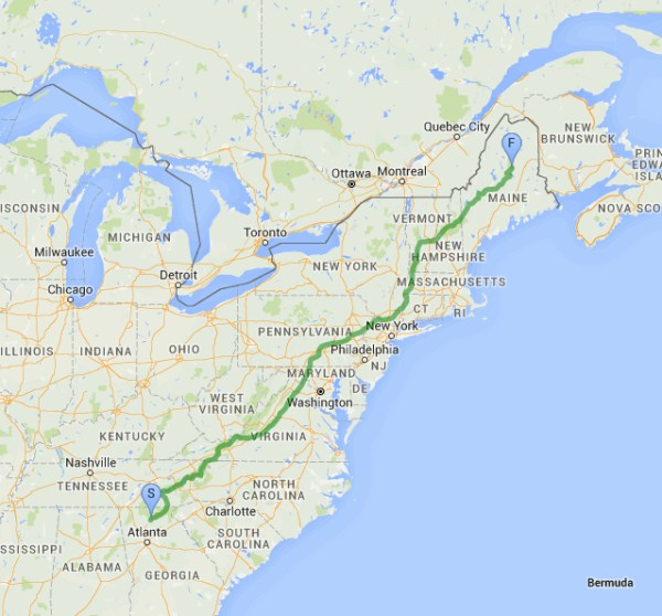 Map showing the length of the Appalachian Trail, from How to Hike the Appalachian Trail [The Definitive Guide]