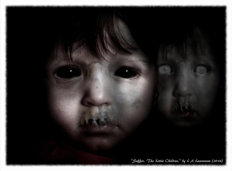 Ghost boy with black eyes