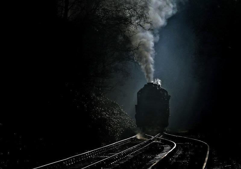 Ghost train on tracks