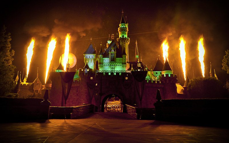 Disneyland on fire, one of California's best haunted attractions