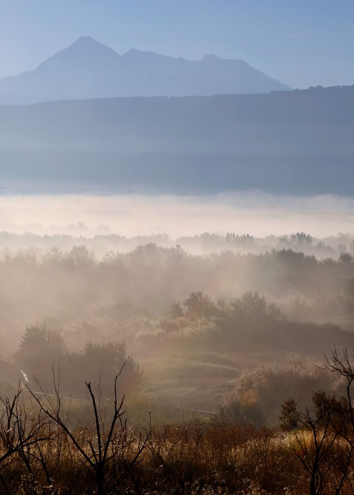 Haunting image of Mount Timpanogos fog, in Utah