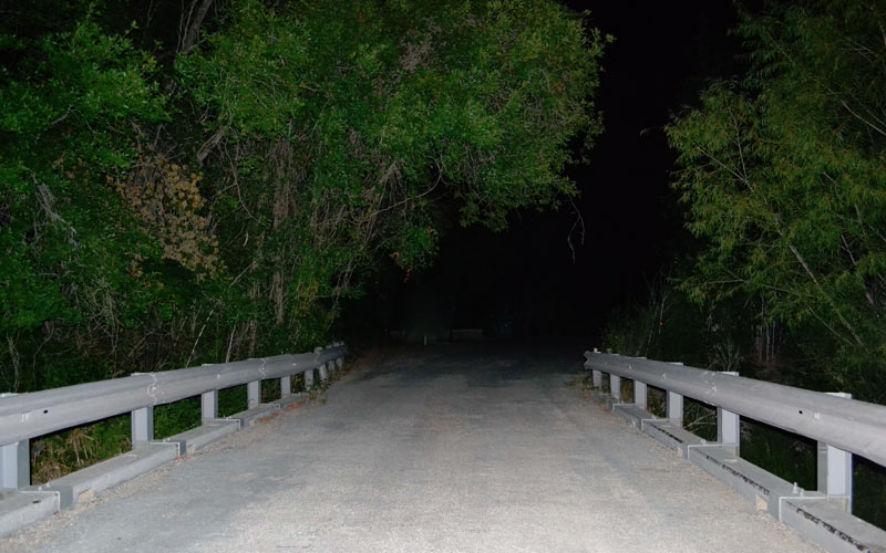 The Donkey Lady lives near this San Antonio bridge. Don't go there at night. Seriously.