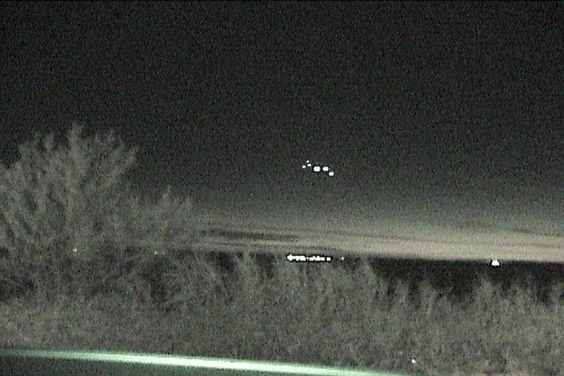 A night shot of the Marfa Lights phenomena