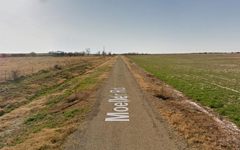 This road is Electra, TX is said to be where a young girl was burned because they thought she was a witch.