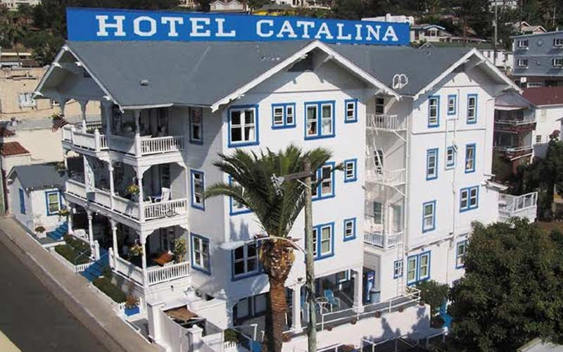 Hotel Catalina's white and blue color scheme is instantly recognizable, much like some of the spirits who frequent this location.