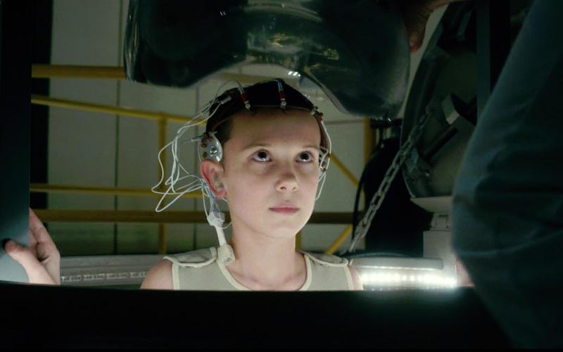 Eleven inside of the sensory deprivation tank.