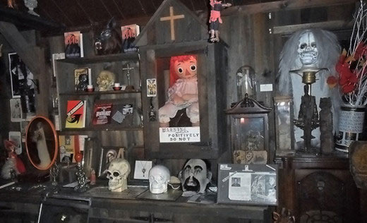 A look at just one wall of artifacts at the Warren's occult museum.