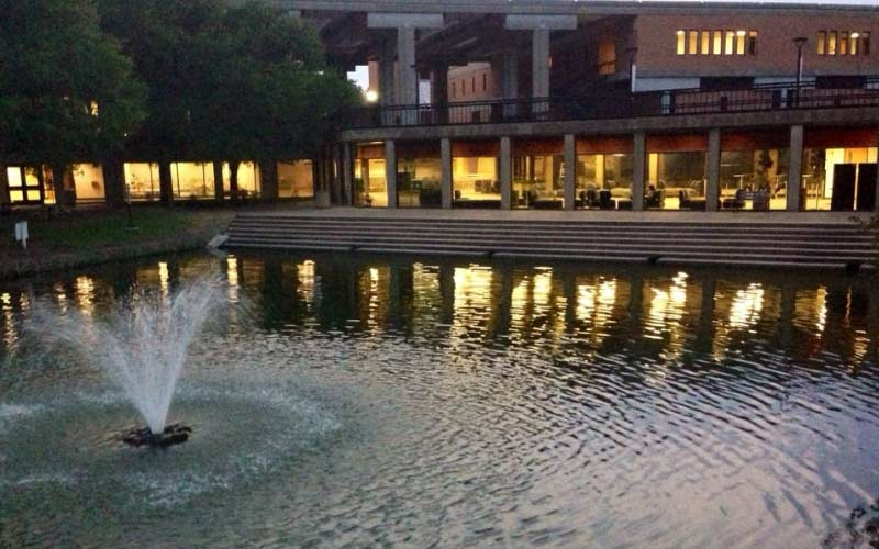 Richard College is located in Dallas, Texas. A misty woman is said to appear near the fountain to those who are pure of heart.