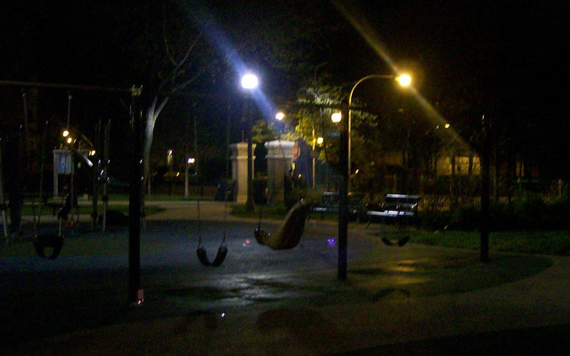 The creepy man at the playground, I don't know if he was ever caught or not?