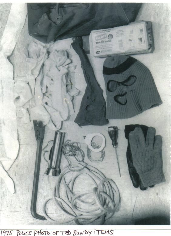 Ted Bundy Rape Kit and Murder Weapons - Police Photo 1975
