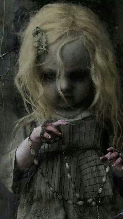 Creepy Little Girl Holding A Necklace