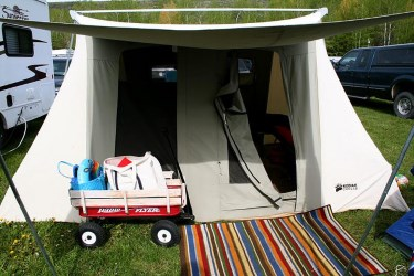 Canvas tents offer the most space, comfort, and wind resistance
